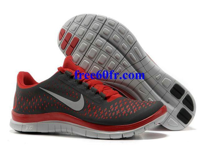 on sale 61f81 3ae07 Xqt5176 Nike Free 3.0 V4 Femme Chaussures De Course Gris Foncé Rouge