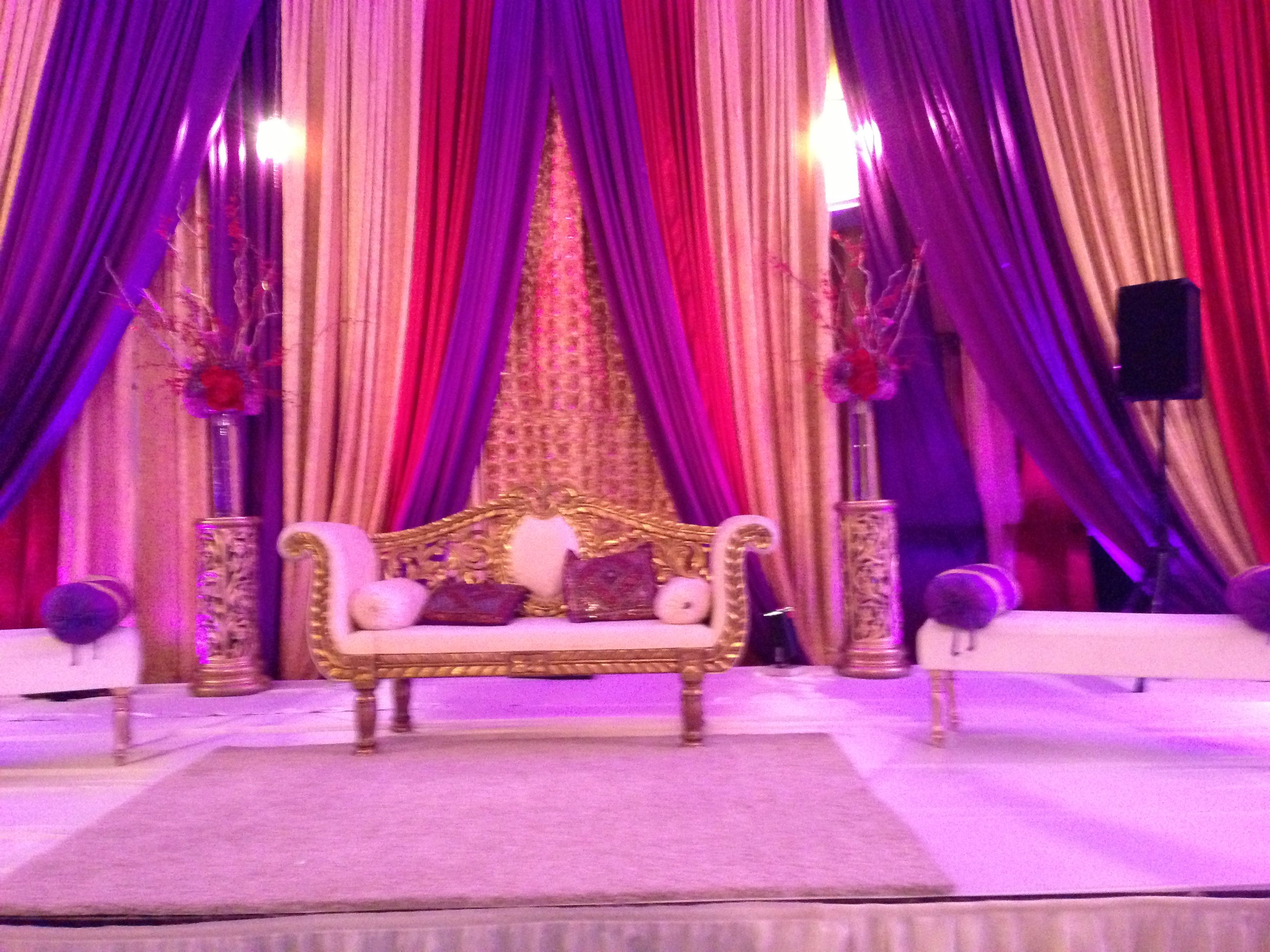 Royal wedding stage decoration  Purple and red wedding shaadi decor stage settee  Royal purple
