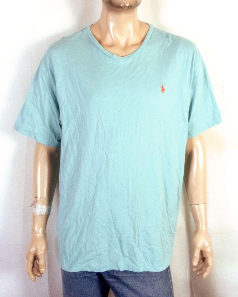 b466121ffd18 euc Polo Ralph Lauren V-Neck Aqua Solid Color T-Shirt Orange Pony soft XXL