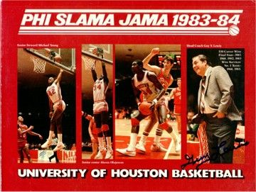 Hakeem Olajuwon teamed with Clyde Drexler to lead the Houston Cougars to three consecutive Final Fours, including appearances in the 1983 and 1984 title games. Olajuwon's Houston teams went by the semi-official nickname Phi Slama Jama, a tribute to their fast-breaking style and explosive slam dunks. Larry Micheaux and Michael Young were less famous members of that team.  They stunk at the free throw line, though and that contributed to them NOT winning an NCAA title.