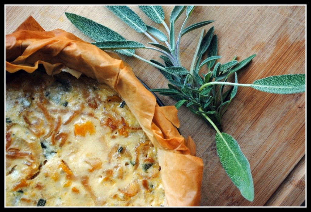 roasted winter squash quiche with caramelized onions, gorgonzola, and sage.