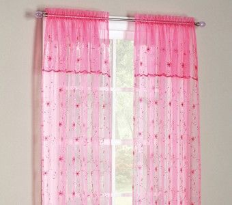 Pink Sheer Curtains With Sequins