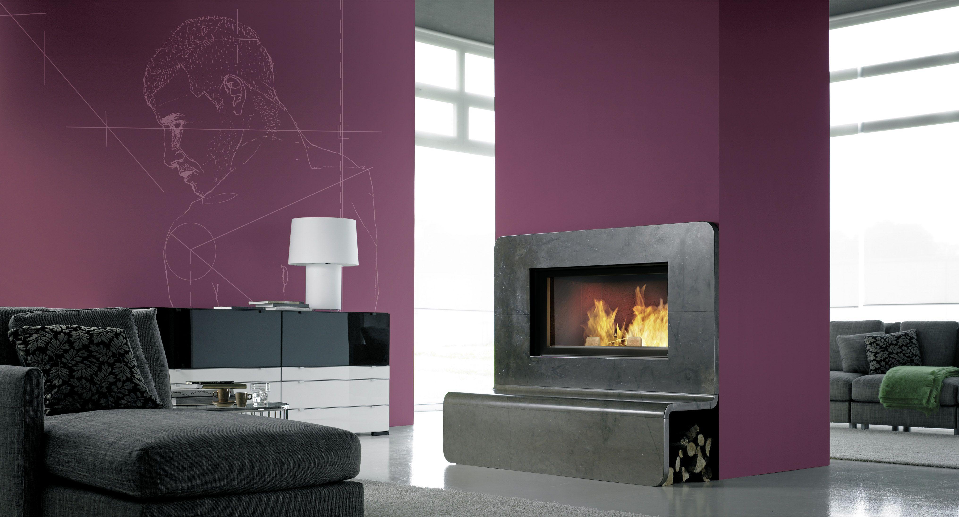 Chemin E Avec Insert Bois Fondis Et Habillage En Granit Fireplace