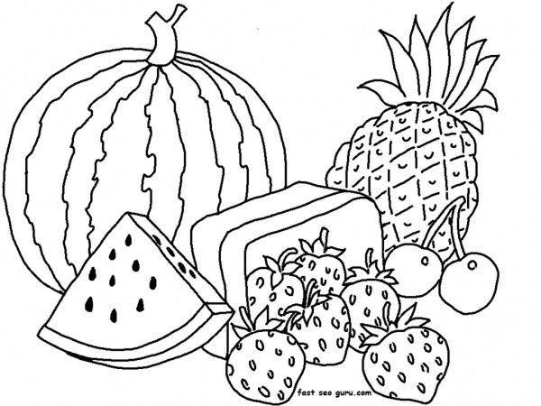 Free Print Out Watermelon And Pineapple Coloring Pages For Kids
