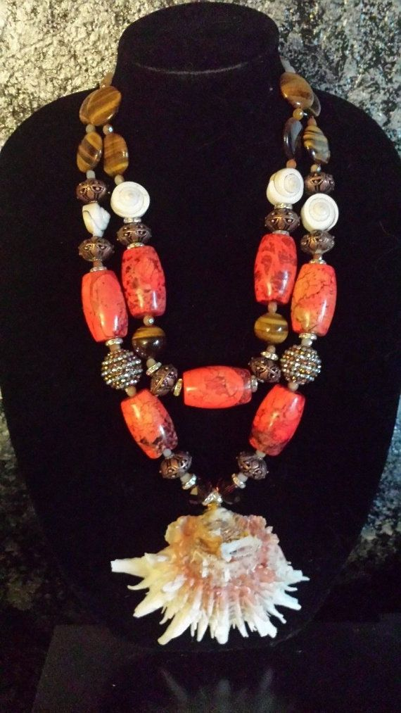 Big Shell Necklace Bold Ethnic Necklace by KATROXWEARATTITUDE