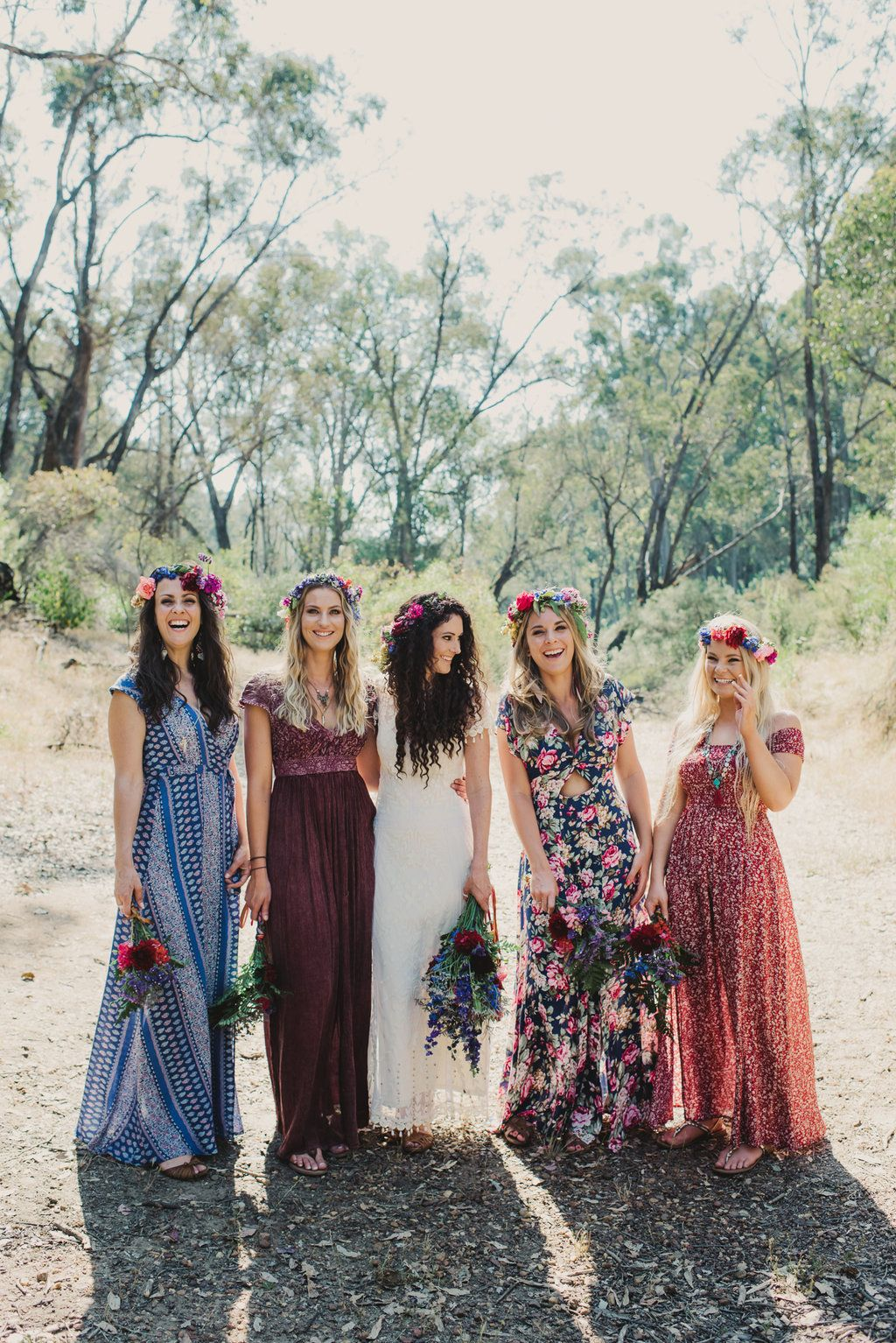 ee6b6dd86e6 Treeblog  A DIY Boho Wedding More. 19 Bridal Parties Who Perfected The  Mismatched Dress Trend