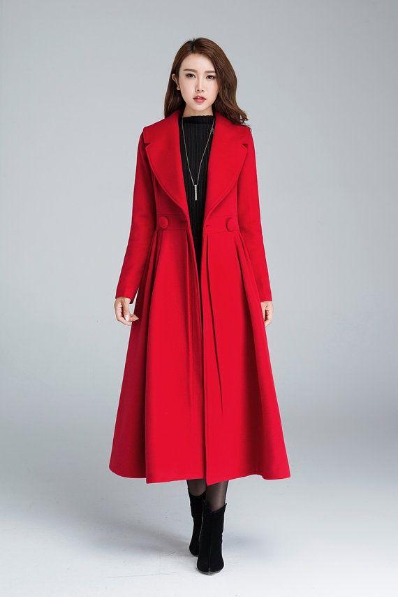 Princess coat, long jacket, red coat, pleated coat