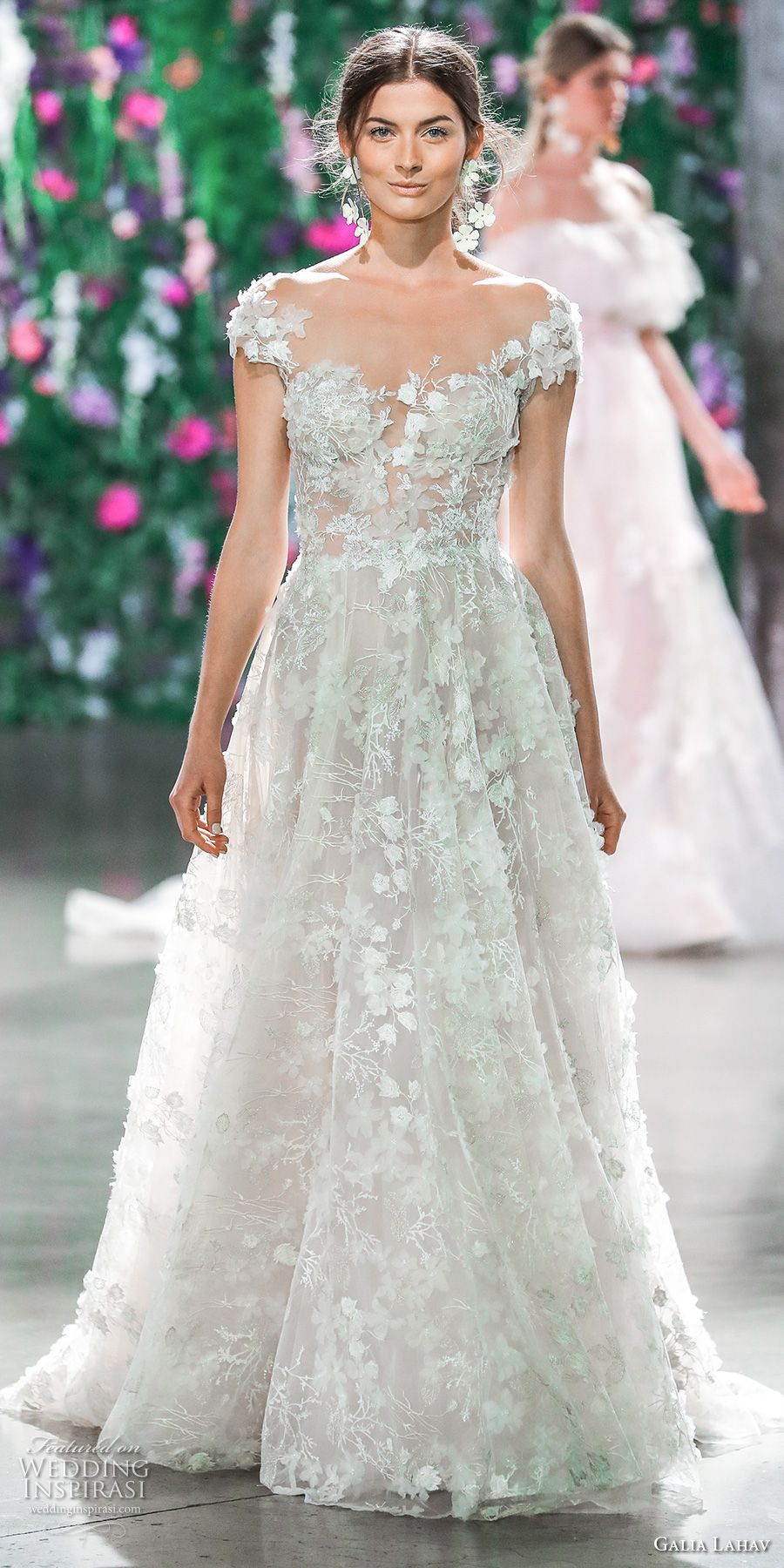 Galia lahav fall bridal cap sleeves sweetheart neckline full