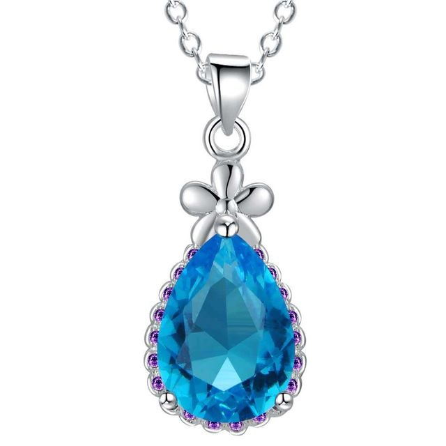 Top Quality Silver waterdrop Pendant Austria Crystal AAA Zircon Pendants Fit Necklaces & Pendant Chain For Women AN1908
