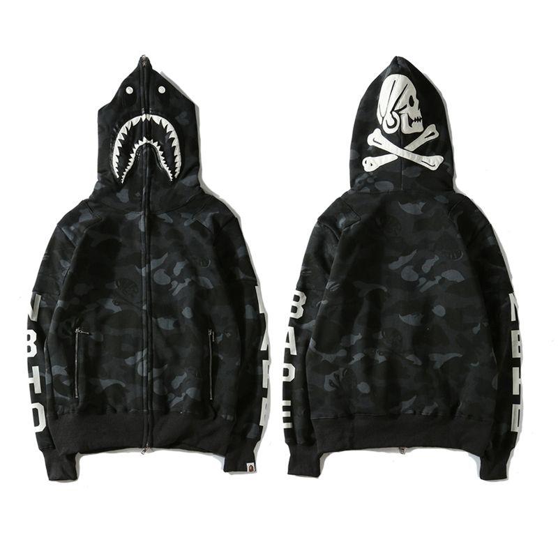 Bape A Bathing Ape PATCHWORK Camo Shark Head Fleece Hoodie Jacket Sweatshirt*