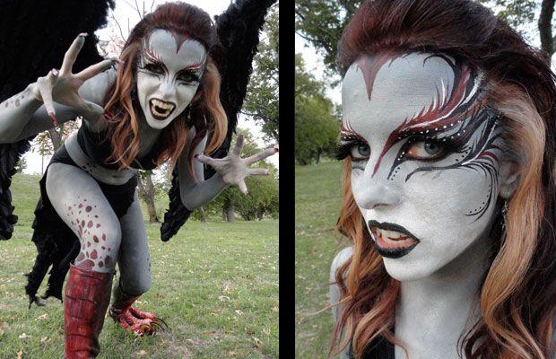halloween kost m ideen makeup ideen harpyie frau haare und make up pinterest halloween. Black Bedroom Furniture Sets. Home Design Ideas