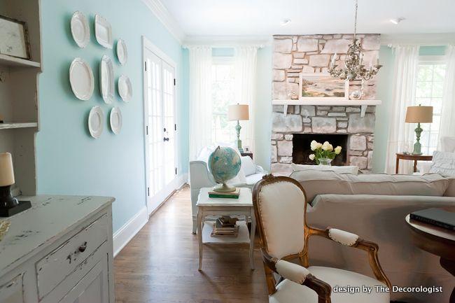 tiffany blue walls coastal living room design