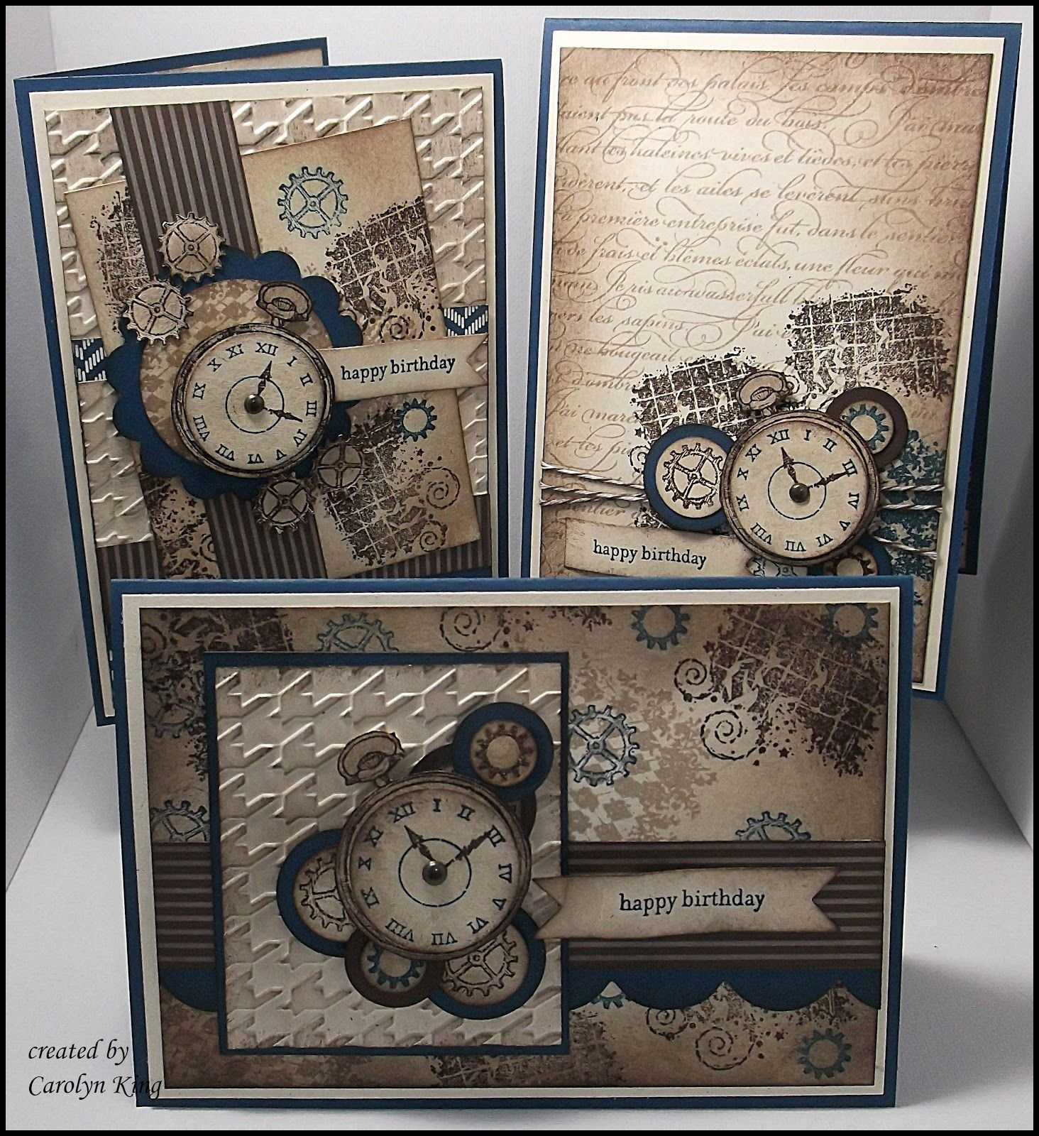 By Carolin King: Clockworks Trio #cardsformen. For My handmade greeting cards visit me at My Personal blog: http://stampingwithbibiana.blogspot.com/