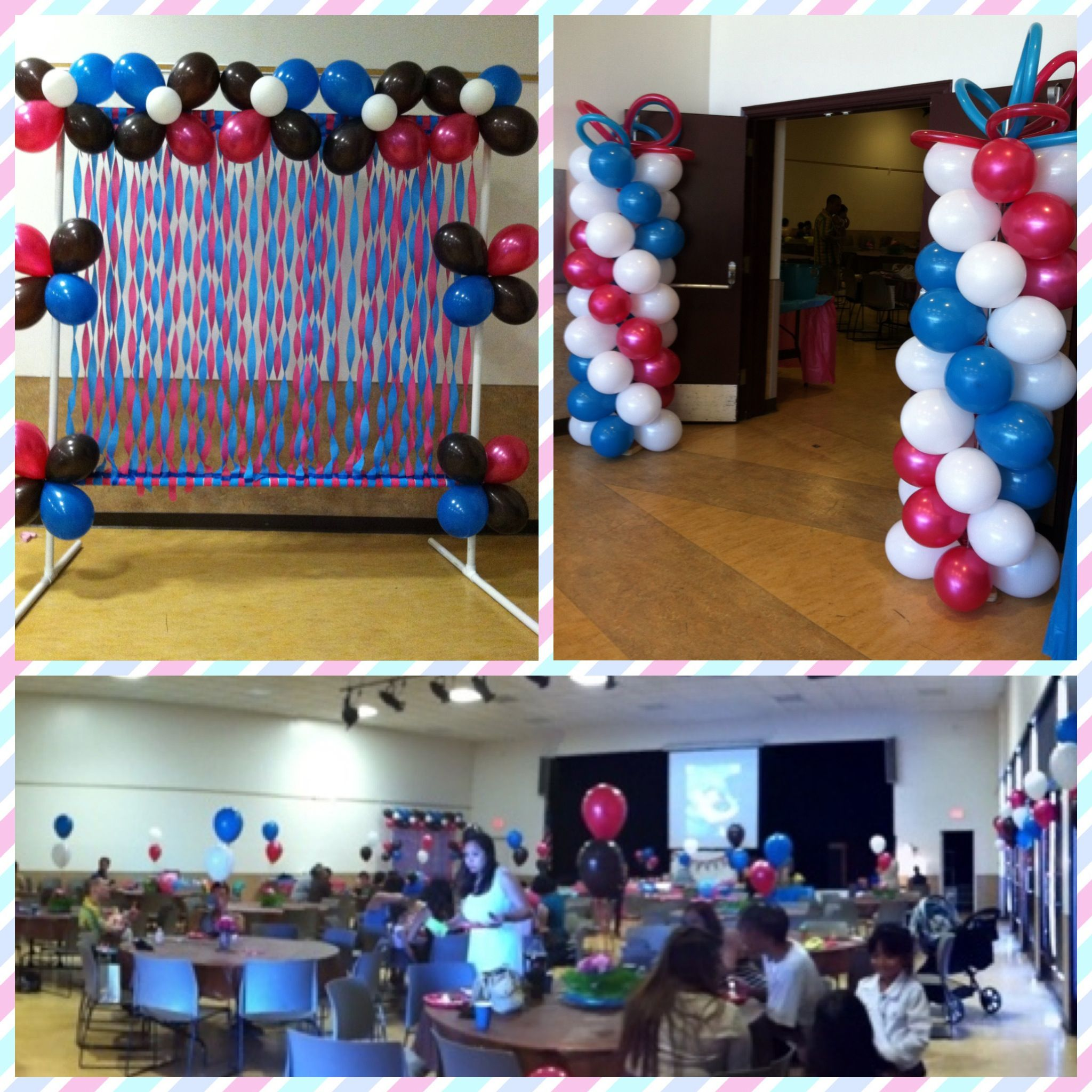 Hot pink and turquoise owl themed first birthday party i for How to make a balloon and streamer backdrop