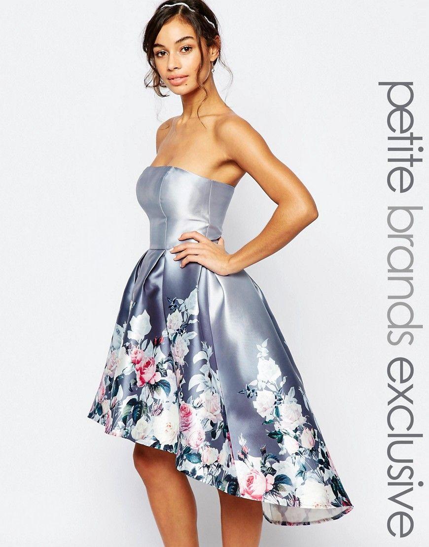 Image 1 of Chi Chi London Petite Bandeau Sateen Midi Dress | Kleider ...