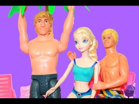 Frozen ELSA & JACK FROST Barbie Pool Kristoff Barbie Beach Vacation Home Disney AllToyCollector
