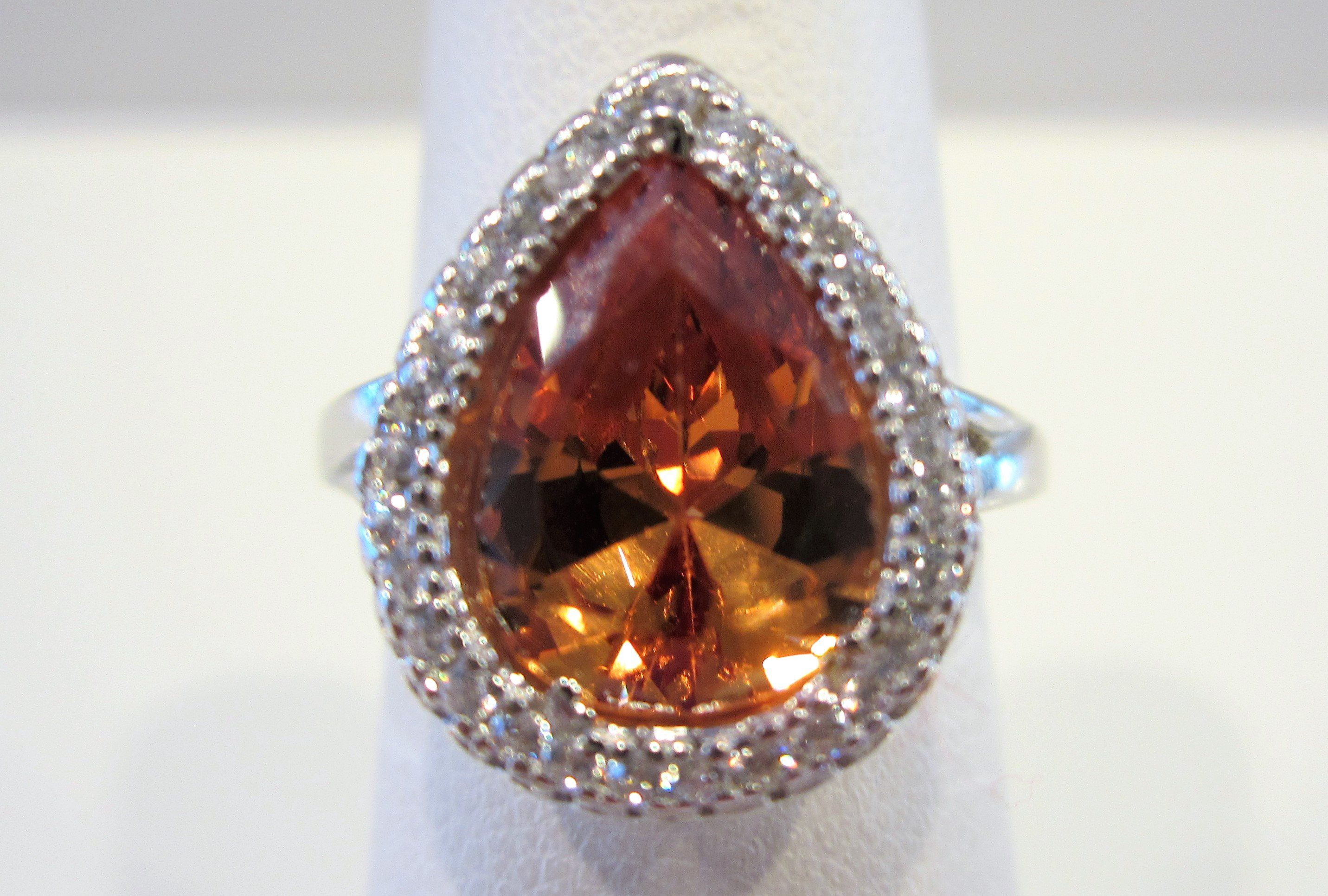ct orange padparadscha sapphire teardrop statement ring size