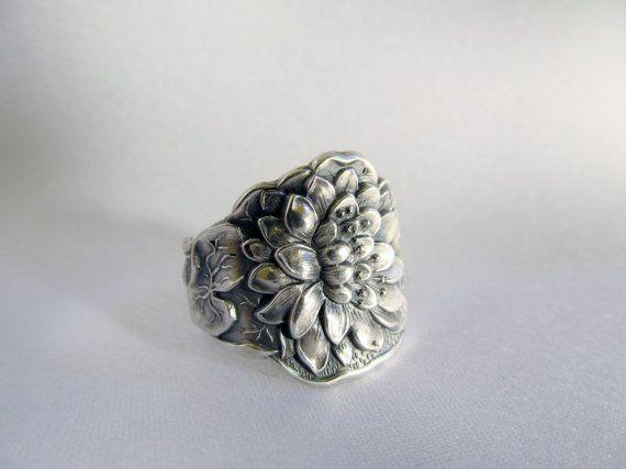 Pond Lily Flower Spoon Ring Sterling Art Nouveau Yoga Zen Jewelry