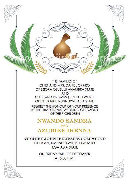 downloadable igba nkwu invitation template  traditional