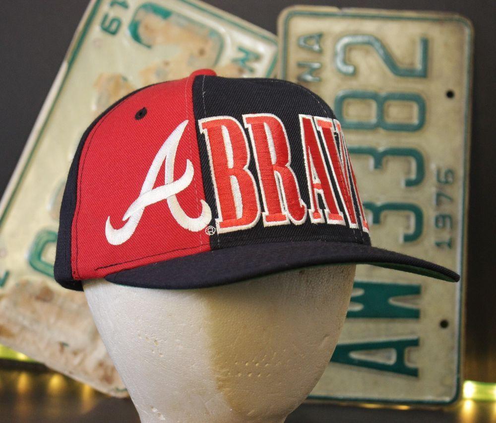 Vintage Atlanta Braves Snapback Hat Baseball Cap Large Logo Starter Retro Navy Starter Baseballcap Hats Snapback Hats Baseball Cap
