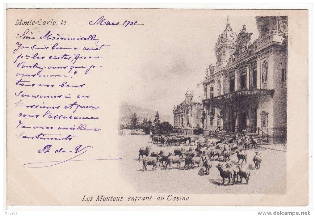 MONTE-CARLO (Monaco)  Les Moutons  entrant au Casino Cachet Timbre 1901