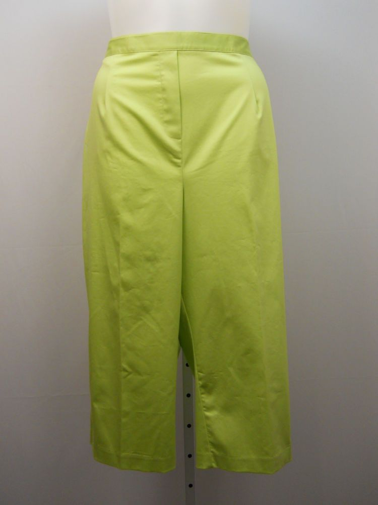 757ed4f2aa5 Women Cropped Capri PLUS SIZE 22W ALFRED DUNNER Lime Green Elastic Waistband   AlfredDunner  CaprisCropped
