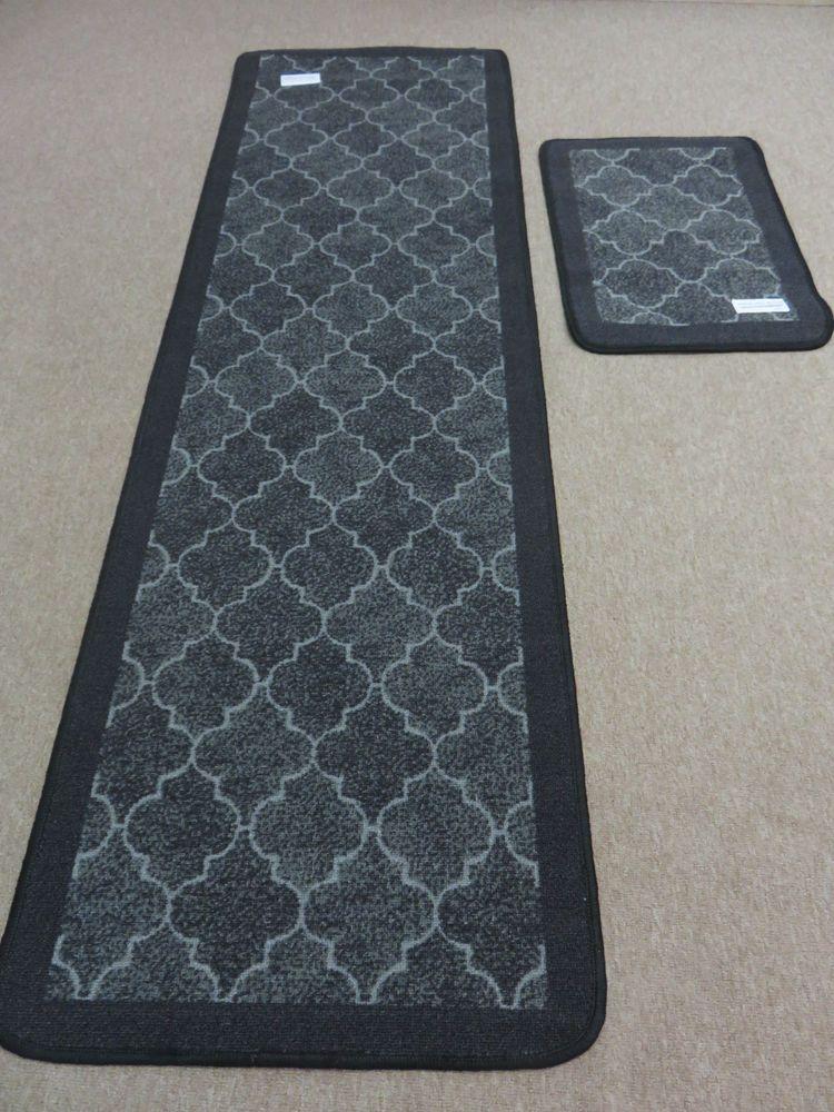 Black Grey Soft Short Pile Kitchen Runner Rug Non Slip Back Free Mat Brand New