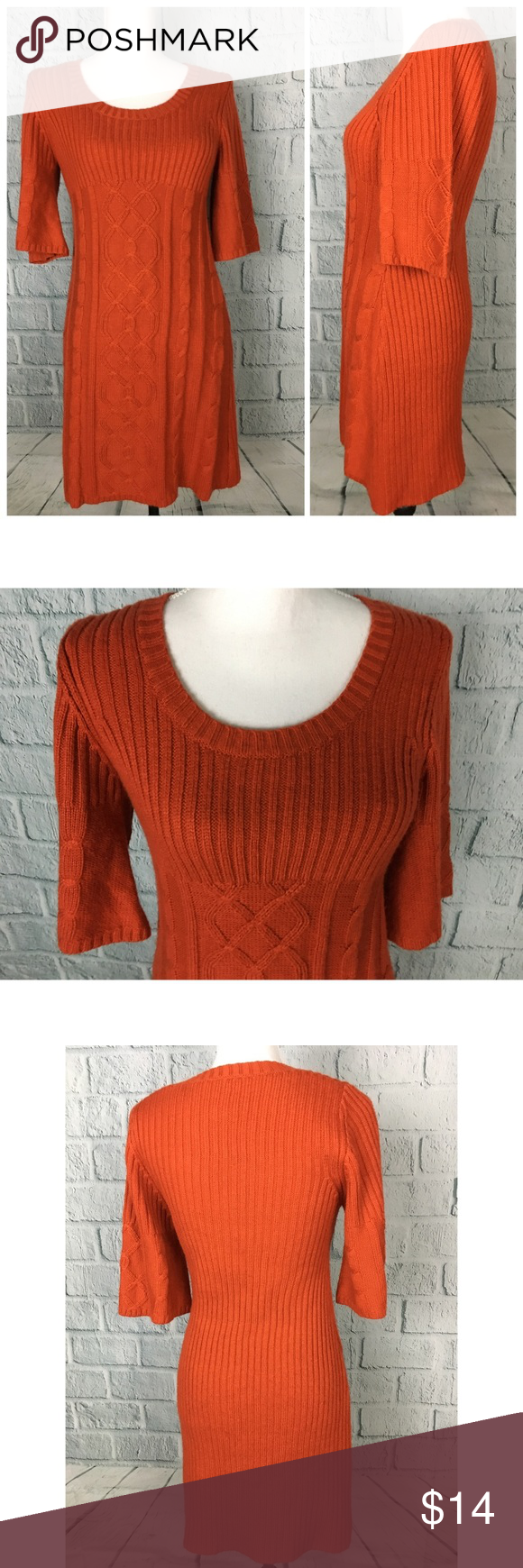 Pink Rose Orange Chunk Knit Sweater Dress Pullover style chunky ...