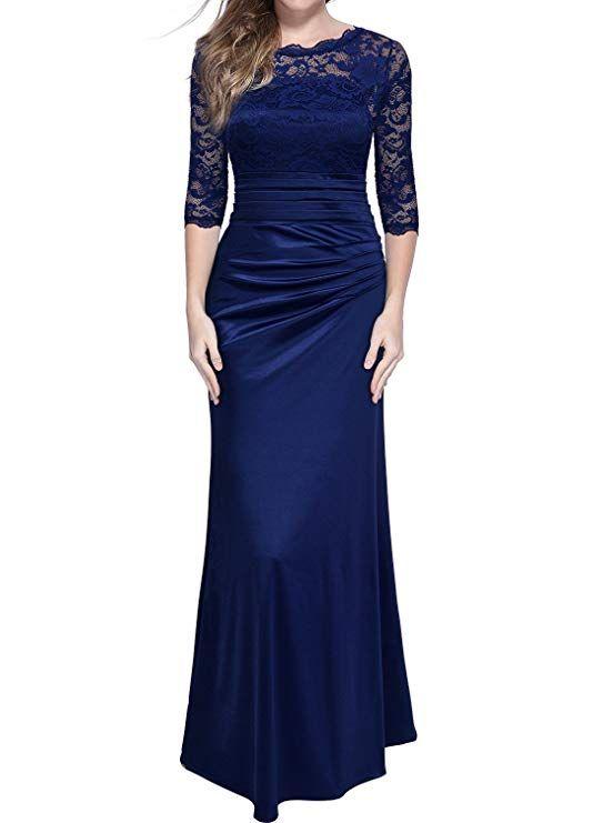 a5f151fb15f33 #Miusol Women's Retro Floral Lace Vintage 2/3 Sleeve Slim Ruched Wedding  Maxi Dress
