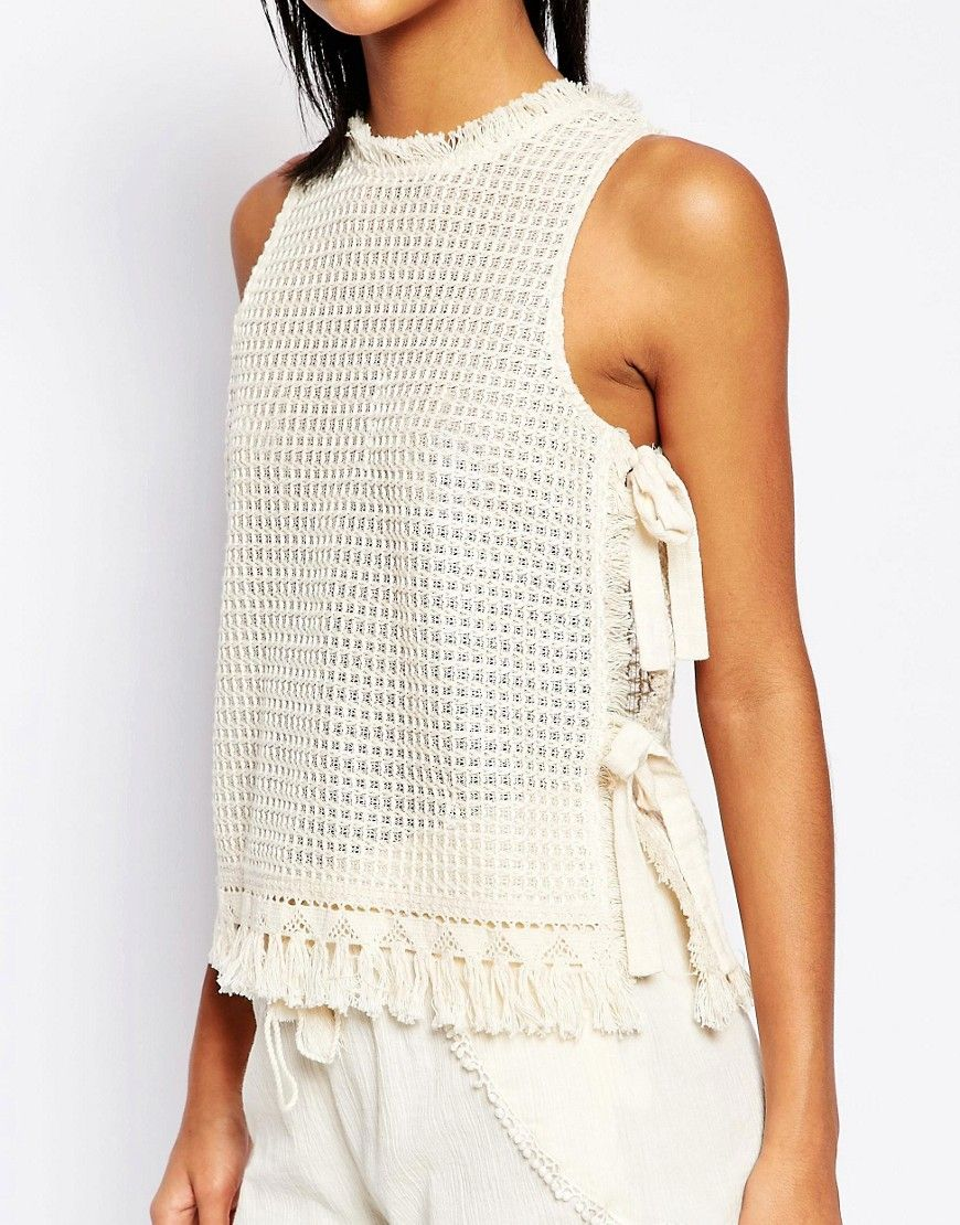 Image 3 of Moon River Knitted Tank Top with Tie Sides   naz ...