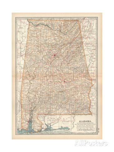 Plate 84. Map of Alabama. United States Giclee Print by Encyclopaedia Britannica…