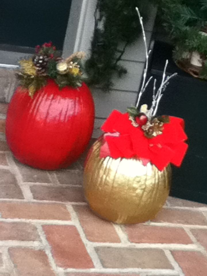 spray painted pumpkins for christmas christmas pumpkins christmas porch ideas all things christmas - Decorating Pumpkins For Christmas Ideas