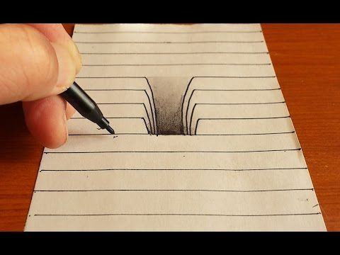 3d Drawing On Lined Paper : Trick art on line paper drawing d hole youtube pintura