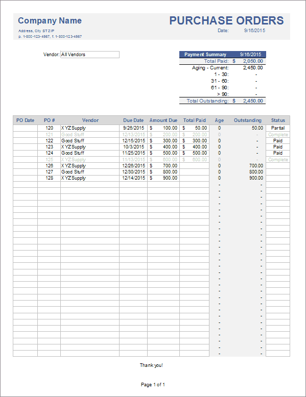 Download The Purchase Order Tracker From Vertex42 Com