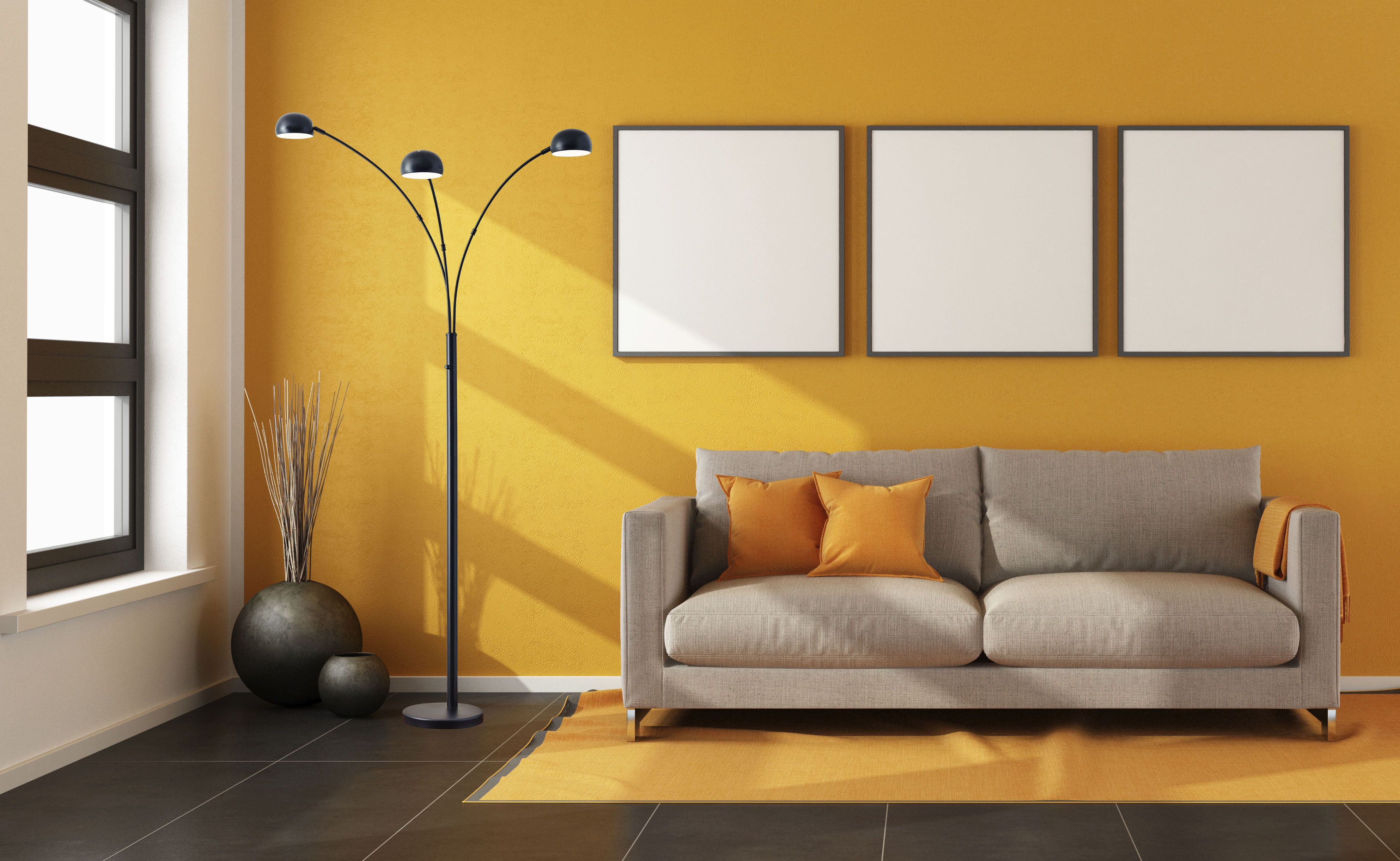 Make a bold statement in a bright room with a dark floor lamp ...