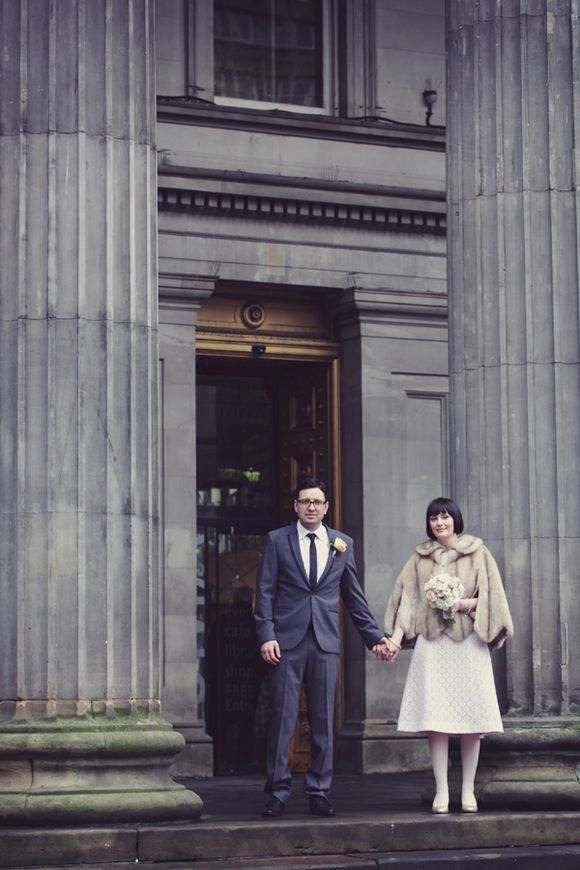 2b8fd2047 White Tights and vintage knee length lace wedding dress ~ A 1960s Inspired  Private Members Club Wedding in Glasgow