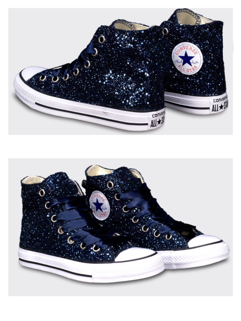 Sparkly Navy Blue Glitter   Crystals Converse All Stars Shoes wedding bride 332b3a831