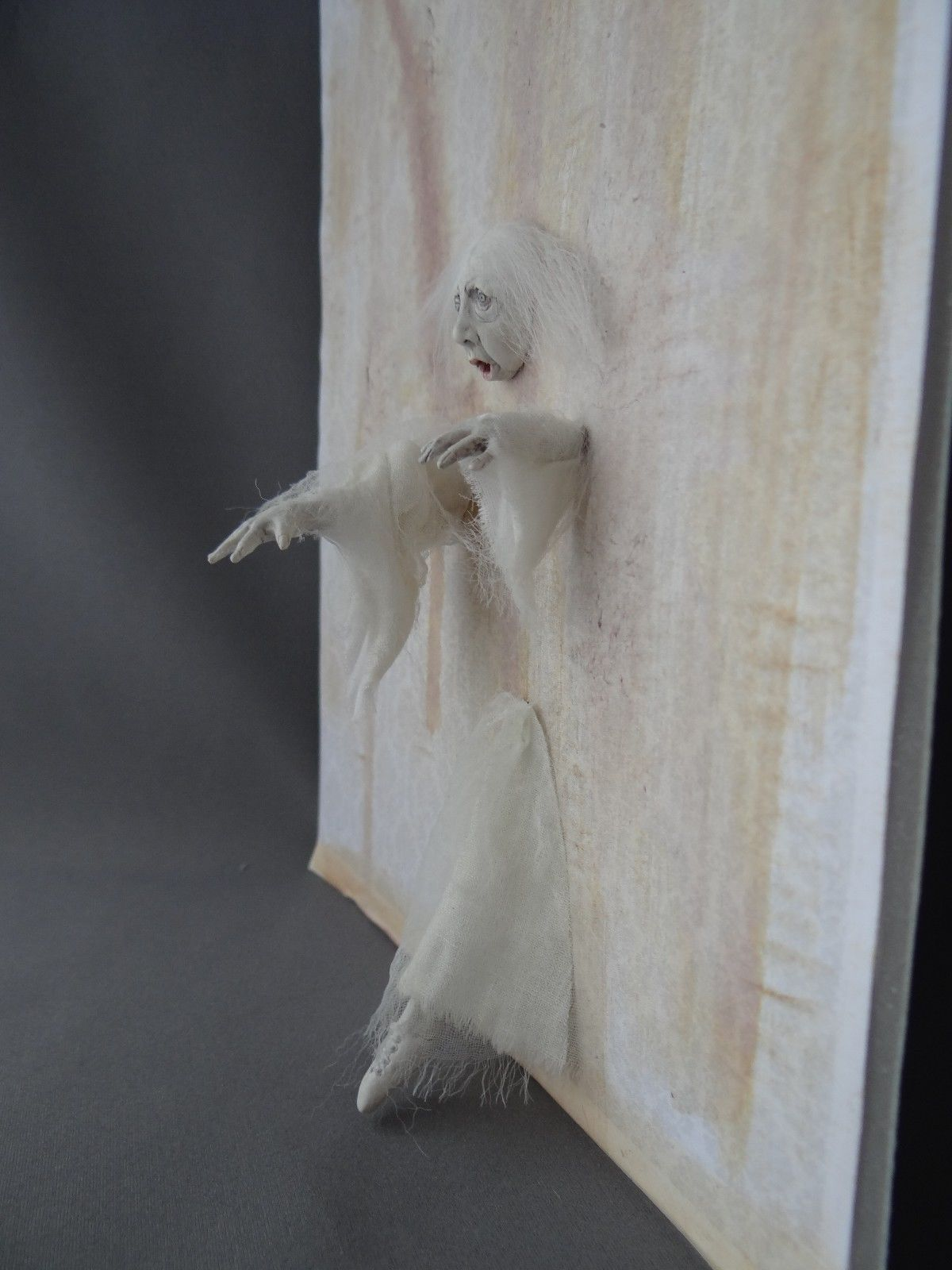 ghost walking through wall 1 12 haunted dollhouse miniature ooak pat benedict ghost walk. Black Bedroom Furniture Sets. Home Design Ideas