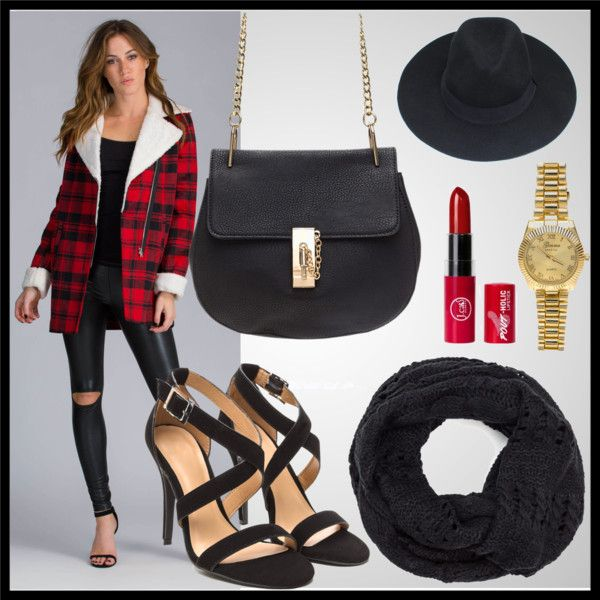 A fashion look from November 2015 featuring a plaid coat, strappy heels, and a black purse.