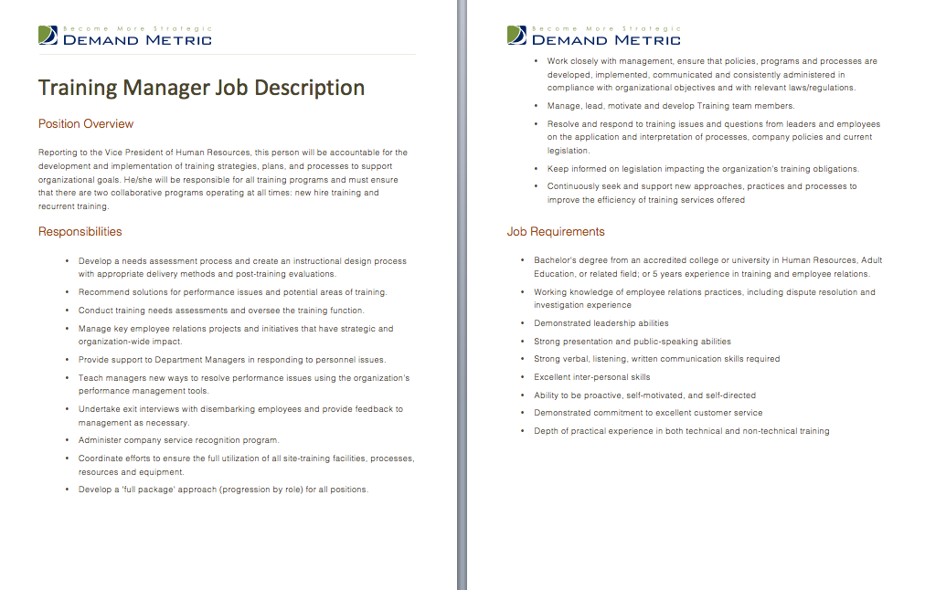 Training Manager Job Description  A Template To Document The Role