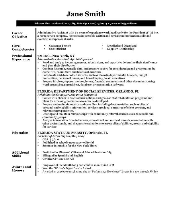 Resume Template BW Executive  School Stuff  Resource Management