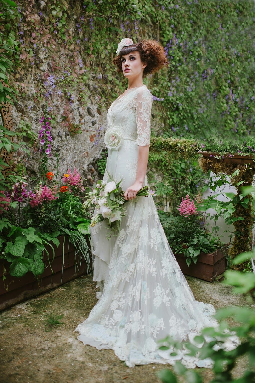 Pale Green Lace Wedding Dress with a Vintage Inspired