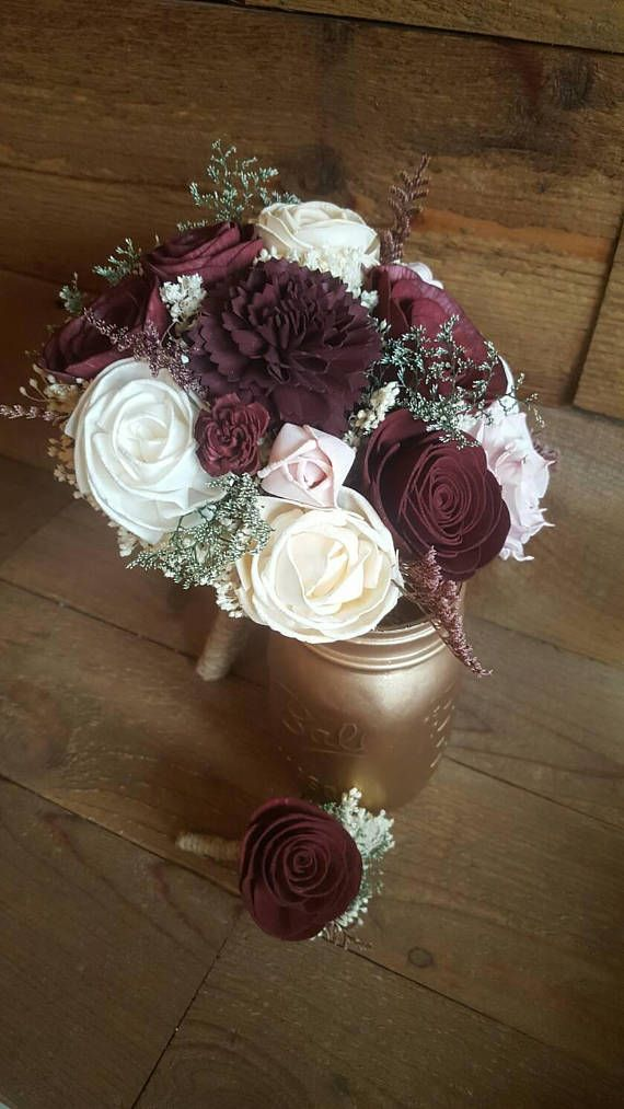 Custom Burgundy Sola Flower Bouquets Red Wine Peach Blush and Ivory ...