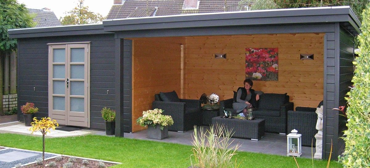 Tuinhuis blokhut met plat dak en grote overkapping model prima julia 300 x 240 cm 28 mm van - Pergola dak platte ...