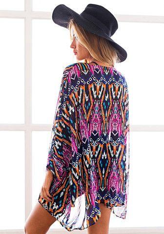 Back view of model in tribal print kimono
