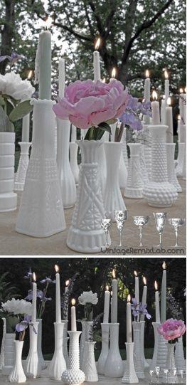 Milk Glass Vases Centerpieces And Wedding Favors Vintage