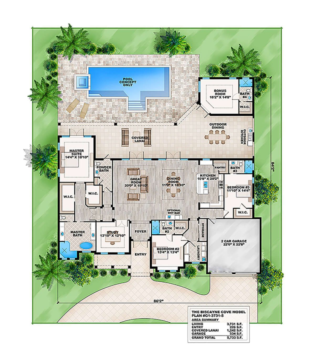 House Plan 207 00018 Contemporary Plan 3 731 Square Feet 4 Bedrooms 4 5 Bathrooms Pool House Plans Florida House Plans Contemporary House Plans