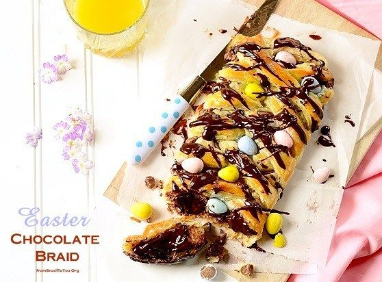 Easter chocolate braid is made from store-bought puff pastry filled with a chocolate bar, drizzled with ganache, and topped with chocolate eggs.