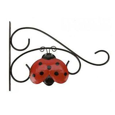 Outdoor garden patio #hanging #flower basket metal wall #bracket ladybird design,  View more on the LINK: http://www.zeppy.io/product/gb/2/142012389974/