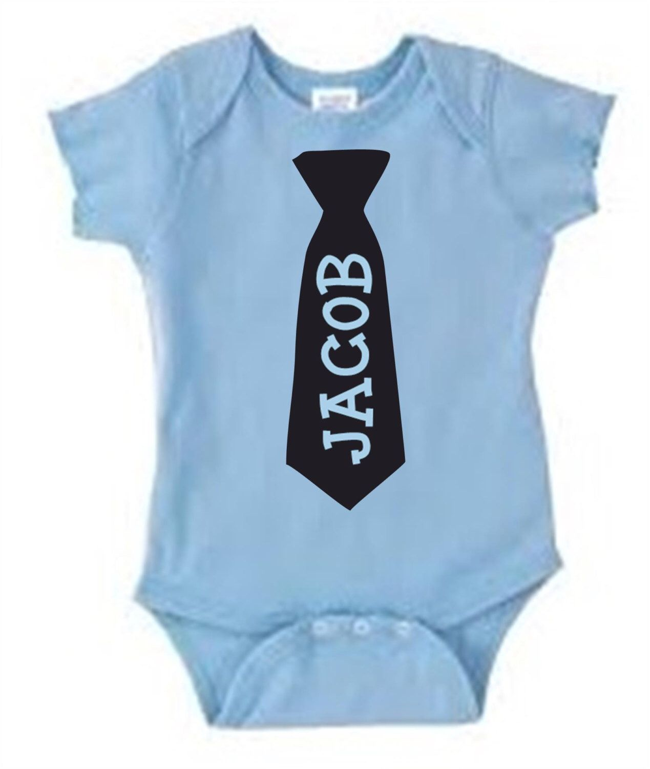de15a33c488 Personalized baby's name in neck tie baby boy bodysuit / blue with black  design or black